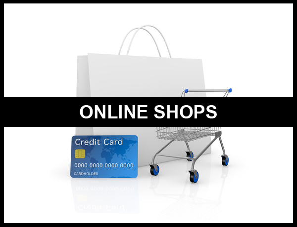 Online shops shown by a shopping trolley, carrier bag and credit card
