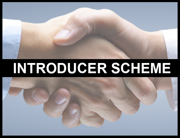 Introducer scheme shown by shaking hands